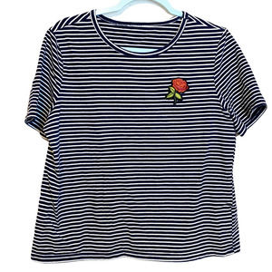 Rose Boutique Blue Embroidered Striped T-Shirt